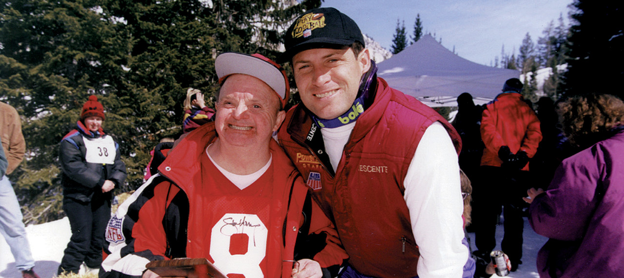 Steve Young with fan at Ski Classic