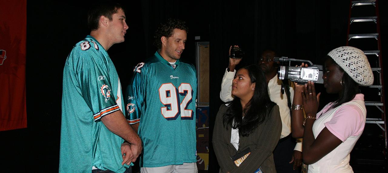 Players talk to kids