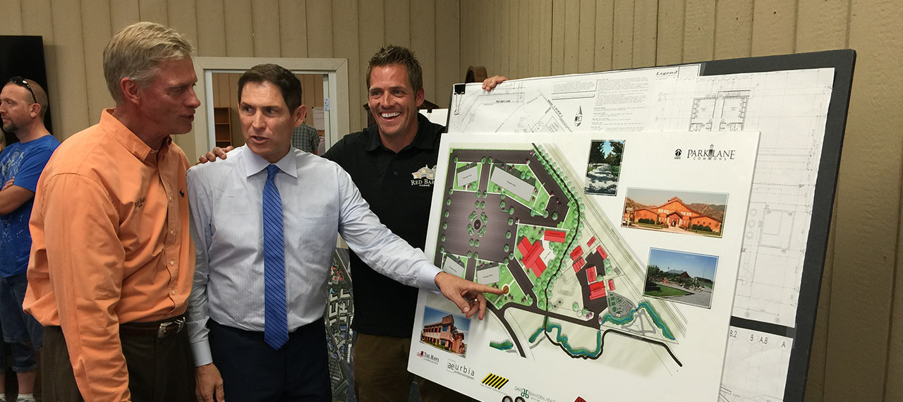 Steve young points to construction plans